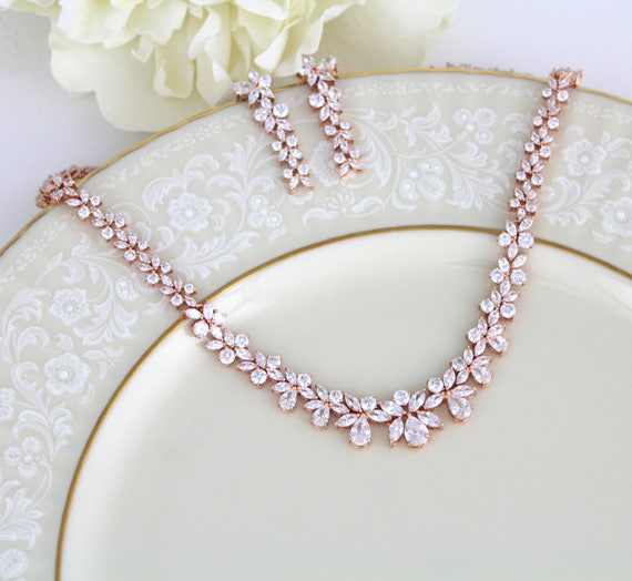 Bridal jewelry SET Bridal necklace Rose gold necklace CZ