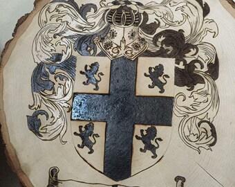 CUSTOM  made to order family crest wood burning wall art