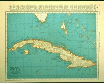Vintage Cuba Map Etsy - Map of cuba