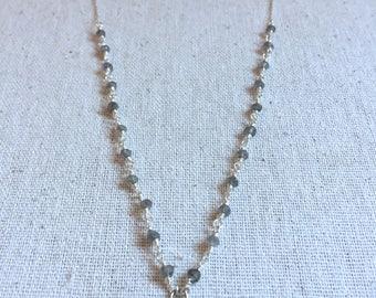 Labradorite gemstone silver necklace with a silver om charm