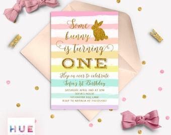some bunny is turning one birthday invitation, easter bunny birthday party invitation, rainbow gold glitter rabbit 1st birthday invitation