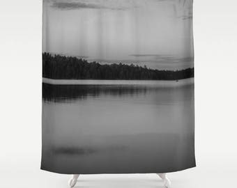 Black And White Bathroom Shower Curtains, Lake House Decor, Nature  Photography Gifts, Landscape