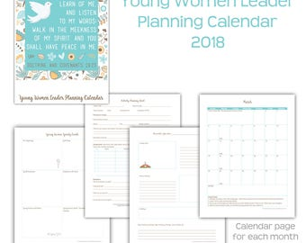 2018 Young Women Leader Planning Calendar 2018 Mutual Theme LDS YW Leadership