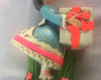 "Vintage Earl Bernard Chalk Ware Girl ""Gifts Galore"" Bank Japan"
