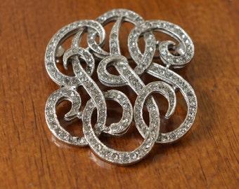 1930s Art deco: vintage rhinestone brooch beautiful big ornamental brooch, crystal clear rhinestones // flapper // hepcat