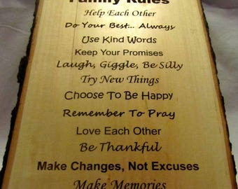 Personalized Rustic Signs - Custom Engraved Family Rules
