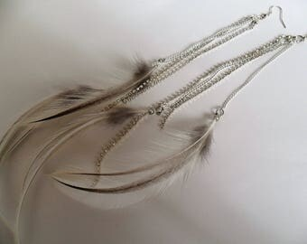 White and Gray Feather Earrings with Glitter