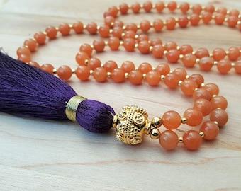 Orange Aventurine & Plum Silk Tassel Necklace / Gold Decorative Bead / Beaded Necklace / Tassel Necklace / Gemstone Necklace / Purple Tassel