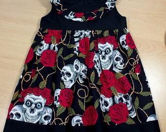 Girls Dress, Toddler, Black, Roses, Skulls, 12-18 months, Day of the Dead