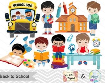 Instant Download Back to School Clip Art, School Day Clipart, Boys Back to School Clipart, Boy School Day Clipart, School Boy Clip Art 00243