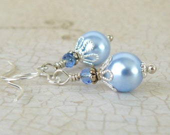 Pale Blue Pearl Earrings, Light Blue Pearl and Crystal Dangles, Light Blue Crystal Pearls, Vintage Style Wedding Jewelry, Swarovski Elements