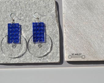 Large Transparent blue laser cut statement earrings