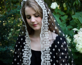 Evintage Veils~ Holy Cross Gold Embroidered  Traditional Black Vintage Inspired Long D Shape Mantilla Chapel Veil