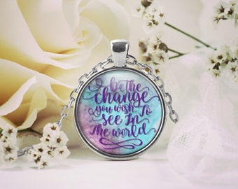 Inspirational Motivation Pendant Necklace, Keepsake Jewelry Gift, Word Print Necklace, Birthday Anniversary Wedding Present, Gift for Her
