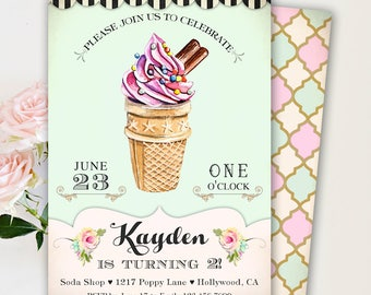 Ice Cream Party Invitation, Ice Cream Party Invites, Ice Cream Party Printables, Ice Cream Birthday Party Invitations for a Girl, Mint Pink