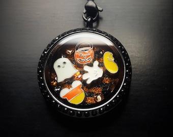 Mickey Halloween Floating Charm Locket Necklace-Not So Scary Halloween-Gift Idea