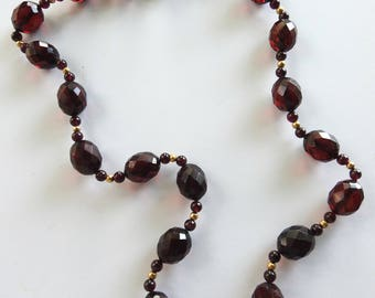 Vintage Facetted Cherry Amber Necklace