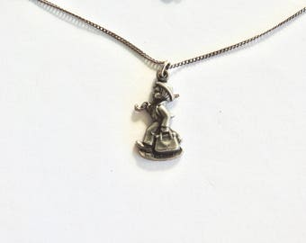 1990 Sterling Goebel Hummel Merry Traveler Charm on Chain
