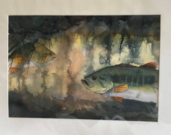 Largemouth Bass in Natural Setting  watercolor