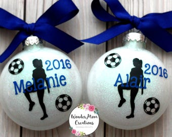 Girl Soccer Player Personalized Ornament; Girl Soccer Coach Ornament; Personalized Girl Soccer Christmas Ornament; Girl Soccer Team Ornament