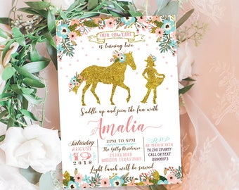 Cowgirl Birthday invitation,  gold cow girl birthday Invite, flowers Gold birthday card, Birthday Party Invitation, Pink and gold, GO, GL