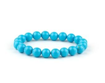 Sky Blue Turquoise Bracelet/ Pale Blue Bracelet/ Blue Yoga Bracelet/ Blue Tribal Bracelet/ Dainty Gold Bracelet