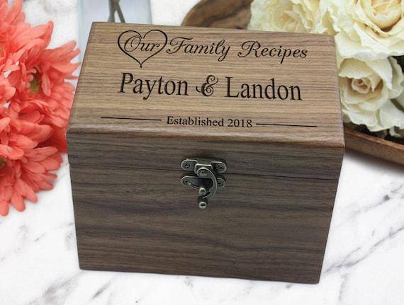 Opening Wedding Gifts: Custom Recipe Box Personalized Recipe Box Wedding Gifts