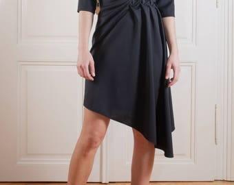 hand smocking dress/ casual dress/ unique dress/ romantic dress/ asymmetric dress