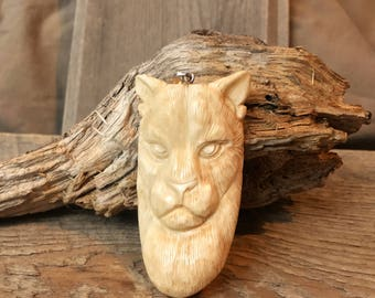 Large Carved Bone Panther/Mountain Lion Pendant - 2 3/4 Inches - 68 mm