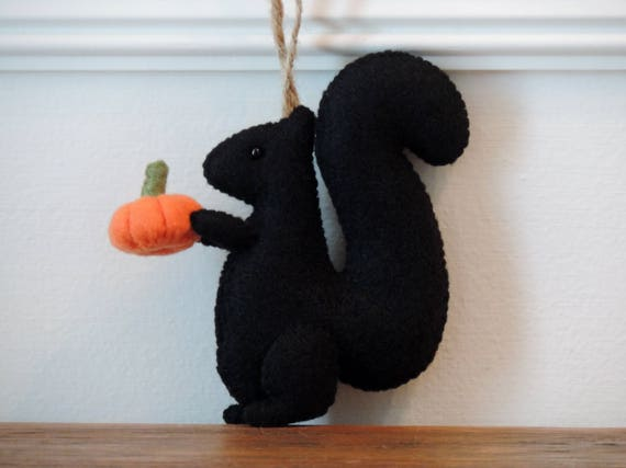 Black Squirrel Ornament Felt Animal Ornament Rustic Handmade