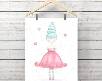 Pink Dress with Blue Hair Watercolor Print - Little Girl Art - Giclee Print - Original Painting by Angela Weber