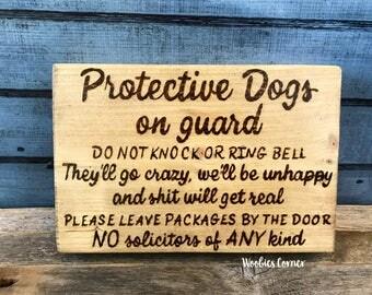 Crazy dog sign, Protective dog sign, No soliciting sign, Funny no soliciting, Do not knock sign, No soliciting dog sign, Dog signs for home