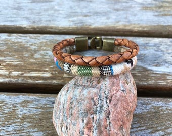 Braided Bolo Leather Bracelet With Stitched Designed Cotton Rope and Bronze Metal Hook Clasp