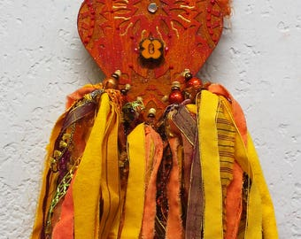 Sun Goddess, OOAK Art doll, Sunshine Goddess , Art Doll Goddess, Yellow Sunshine doll, mixed media art doll