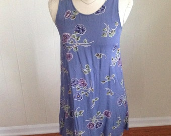 Vintage 2 of Us NYC Sleeveless Dress, 1990s Purple Floral Print Mini Dress Sundress, Beach Dress, Size Small