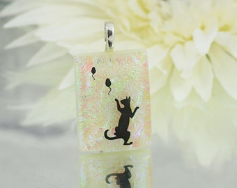 Small Fused Glass Cat Pendant - Dichroic Glass Pendant -Sparkling Cream Background - Cat and Mice - Fused Glass Jewellery.  JBT413