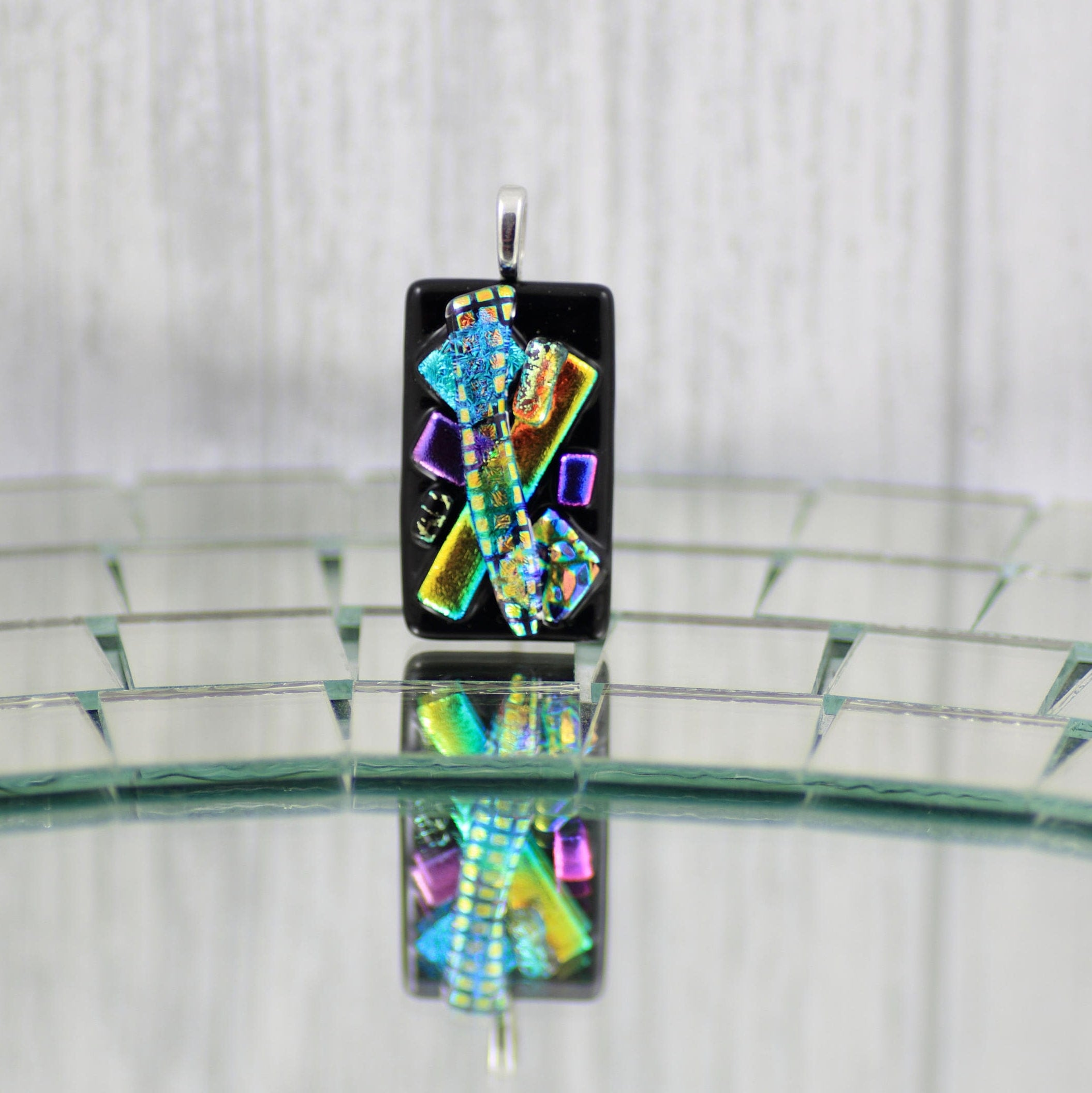 bails fused silver dichroic pendants glass pendant twist with jewelry