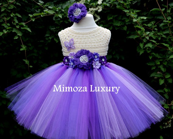 Purple Lavender Flower girl dress, cream purple birthday dress, purple flower girl dress, purple princess dress, purple tutu dress,