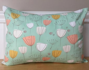 """12"""" x 16"""" Pillow Cover White Cream Peach Gold Tulips on Mint Aqua Littlest in Little One Baby Nursery Lumbar Accent Pillow Cover"""