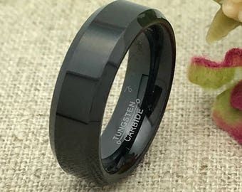 6mm Personalized Tungsten Ring, His Wedding Band, Custom Promise Ring for Him, Purity Ring, Custom Date Ring, Friendship Ring Groomsmen Ring
