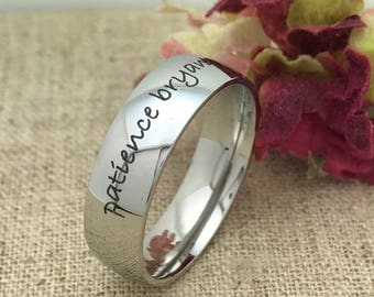 7mm Wedding Ring, Personalized Custom Engraved Stainless Steel Ring, Wedding Ring, Men's Wedding Band, Father's Day Gift - FREE ENGRAVING