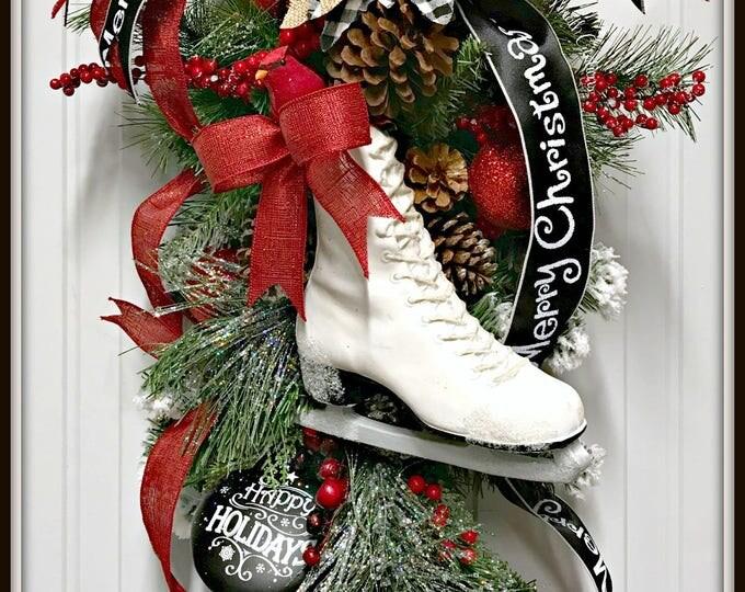 Ice skate swag - Ice skate door hanger - Ice skate wreath