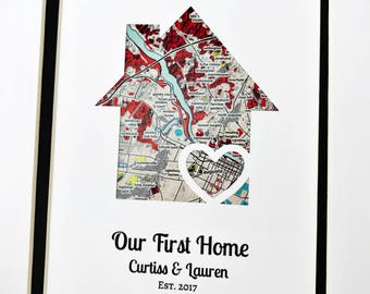 Our First House- Personalized Home Map Matted Gift- First Home Gift- New House Housewarming Gift- First Anniversary or Wedding Gift