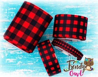 "3/8"", 7/8"", 1.5"", 3"" Buffalo Plaid Double-Sided Ribbon - Christmas Inspired - U.S. DESIGNER - High Quality Grosgrain Ribbon - 5yd Roll"
