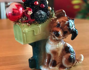 Vintage Dog with Mailbox Planter Arrangement for Christmas Shiny Brite Centerpiece with Pixies