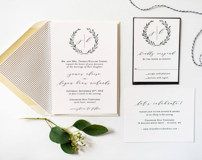 james greenery wedding invitation sample // monogram winery olive branch rustic eucalyptus custom calligraphy invite printed invitation