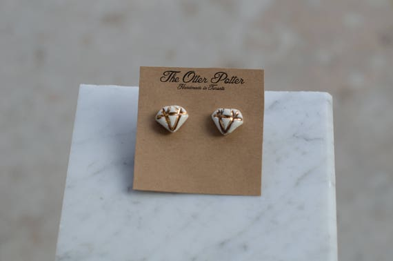 Diamond Porcelain and gold marble Earrings