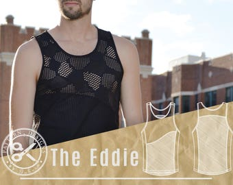 Men's Workout Tank Sewing Pattern // The Eddie // Running Shirt Singlet Pattern // Gym Tank Mens Sewing Pattern // Workout Shirt Tank Top