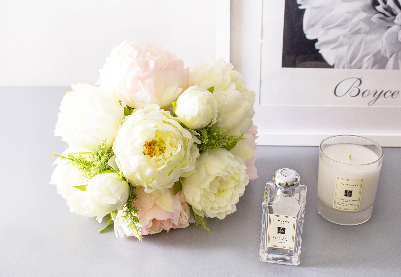 7pcs White Blush Pink Peony Peonies Silk Flower Silk Flowers For