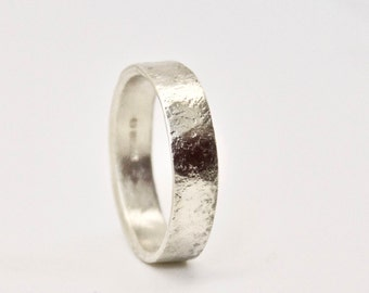 White Gold Wedding Ring With Distressed Texture